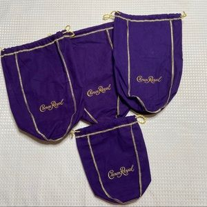 Crown Royal Bags-3 Large and 1 Small